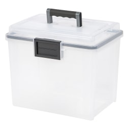 "Iris® Weather Tight Mobile Storage File Box, 11 1/2"" x 13 3/4"" x 10 7/16"", Clear"