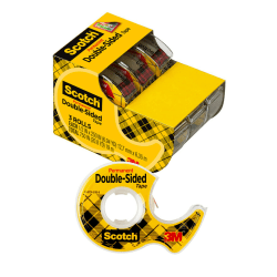 "Scotch® 665 Permanent Double-Sided Tape, 1/2"" x 250"", Clear, Pack Of 3 Rolls"