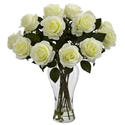 """Nearly Natural 18""""H Polyester Artificial Blooming Roses Bouquet with Vase, White"""