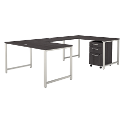 """Bush Business Furniture 400 Series 60""""W U-Shaped Desk With 3-Drawer Mobile File Cabinet, Storm Gray, Premium Installation"""