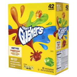 Fruit Gushers Fruit Flavored Snacks, 0.8 Oz, Assorted Flavors, Box Of 42 Pouches