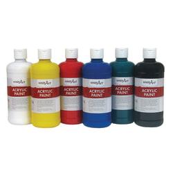 Handy Art Acrylic Paint Bottles, 16 Oz, Assorted Colors, Set Of 6 Bottles