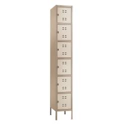 Safco® Storage Locker, 6-Box, Single-Column, Tan
