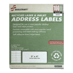 "White Laser Address Labels, NSN5144903, 2"" x 4"", Box Of 100 Sheets (AbilityOne 7530™01™514™4903)"