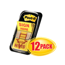 "Post-it® Message Flags, ""Sign Here"", 1"" x 1-11/16"", Yellow, 50 Flags Per Pad, Pack Of 12 Pads"