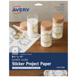 """Avery® Full-Sticker Project Paper, 4397, 8 1/2"""" x 11"""", Glossy, Clear, 7 Sheets"""