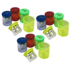 The Pencil Grip Eisen Pencil Sharpeners, 2 Hole, Assorted Colors, Pack Of 12