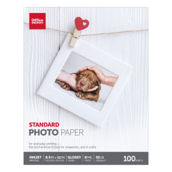 "Office Depot® Standard Photo Paper, Glossy, Letter Size (8 1/2"" x 11""), 7 Mil, Pack Of 100 Sheets"