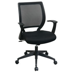 Office Star™ Screen-Back Chair With Fixed Arms, Black