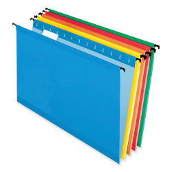 Pendaflex® SureHook® Reinforced Hanging Folders, Legal Size, Assorted Colors, 1/5 Cut, Box Of 20