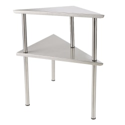 """Mind Reader 2-Tier Metal Kitchen Corner Rack, 13 5/8""""H x 19 1/2""""W x 13 3/4""""D, Silver"""