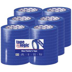 "Tape Logic® 3000 Painter's Tape, 3"" Core, 0.5"" x 180', Blue, Case Of 72"