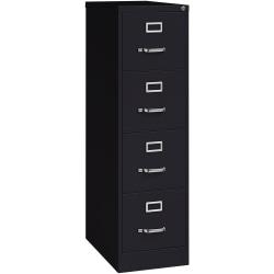 "Lorell® Fortress 25""D Vertical 4-Drawer File Cabinet, Metal, Black"