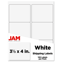 """JAM Paper® Mailing Address Labels, 3-1/3"""" x 4"""", White, Pack Of 120 Labels"""