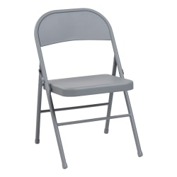 Alera Steel Folding Chairs, Light Gray, Set Of 4 Chairs