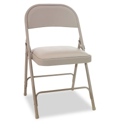 Alera® Steel Folding Chairs With Padded Seats, Tan, Set Of 4