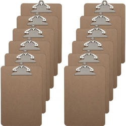 "Business Source Standard Clipboards, 5"" x 8"", Brown, Set Of 12 Clipboards"