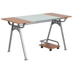 Flash Furniture Computer Desk With Laminate And Glass Top, Cherry/Frost