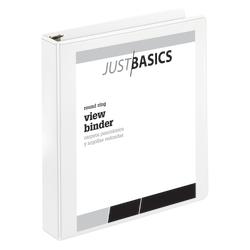 "Just Basics® Basic View 3-Ring Binder, 1 1/2"" Round Rings, 61% Recycled, White"