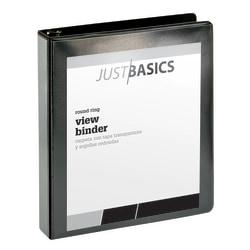 "Just Basics Basic Round-Ring View Binder, 1 1/2"" Rings, 61% Recycled, Black"