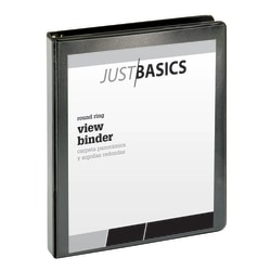 "Just Basics Basic Round-Ring View Binder, 1"" Rings, 61% Recycled, Black"