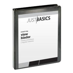 "Just Basics® Basic View 3-Ring Binder, 1"" Round Rings, 41% Recycled, Black"