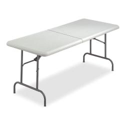 "Iceberg Half-Folding Table, 60""W x 30""D, Platinum"