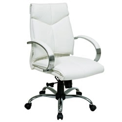 Office Star™ Pro-Line II™ Deluxe Bonded Leather Mid-Back Chair, White