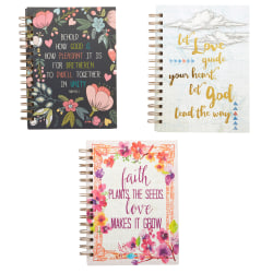 """Markings by C.R. Gibson® Twin-Wire Journal, Religious, 6 3/8"""" x 8 1/2"""", Ruled, 192 Pages (96 Sheets), Assorted Colors"""
