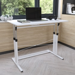 Flash Furniture Height-Adjustable Sit-To-Stand Home Office Desk, White