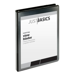 "Just Basics® Basic View 3-Ring Binder, 1/2"" Round Rings, 61% Recycled, Black"