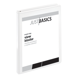 "Just Basics® Basic View 3-Ring Binder, 1/2"" Round Rings, 61% Recycled, White"