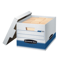 "Bankers Box® Stor/File™ Medium-Duty Storage Boxes With Locking Lift-Off Lids And Built-In Handles, Letter/Legal Size, 15"" x 12"" x 10"", 60% Recycled, White/Blue, Case Of 4"
