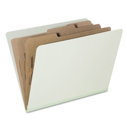SKILCRAFT® Pressboard Classification Folders, Letter Size, 8-Section, 30% Recycled, Pale Green, Pack of 10 (AbilityOne 7530-01-572-6207)