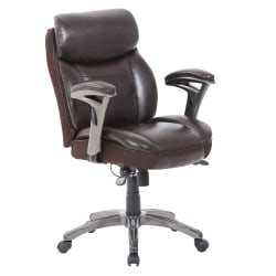 Serta® Smart Layers™ Siena Bonded Leather Mid-Back Task Chair, Brown