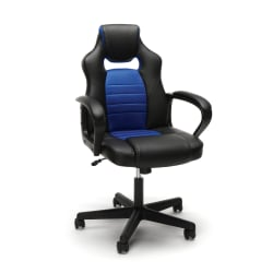 Essentials By OFM Racing-Style Mid-Back Gaming Chair, Blue/Black