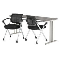 """Bush Business Furniture 400 Series 72""""W x 24""""D Training Table With Set Of 2 Mesh Back Folding Chairs, Platinum Gray, Premium Installation"""