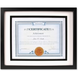 """Dax Burns Group Airfloat Certificate Frame - 8.50"""" x 11"""" Frame Size - Rectangle - Wall Mountable - Horizontal, Vertical - 1 Each - Glass, Hardboard, Solid Wood - Black"""