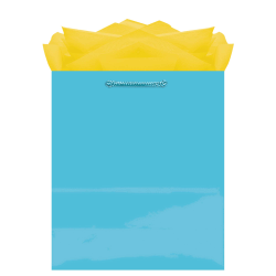 "Amscan Glossy Medium Gift Bags, 9-1/2""H x 7-3/4""W x 4-1/2""D, Caribbean Blue, Pack Of 10 Bags"