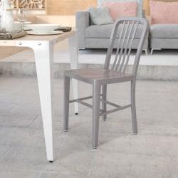 Flash Furniture Commercial-Grade Metal Indoor/Outdoor Chair, Silver