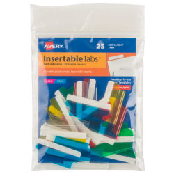 """Avery® Self-Adhesive Index Tabs With Printable Inserts, 1 1/2"""", Assorted, Pack Of 25"""