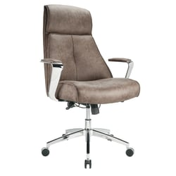 Realspace® Modern Comfort Devley Leath-Aire Executive Bonded Leather High-Back Chair, Chestnut/Chrome