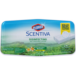 "Clorox Scentive Disinfecting Wet Mopping Cloths - 5.90"" Width x 11.44"" Length - 24 Per Pack"