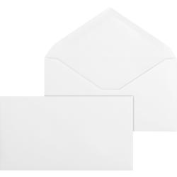 "Business Source No. 6-3/4 White Wove V-Flap Business Envelopes - Business - #6 3/4 - 3 3/5"" Width x 6 1/2"" Length - 24 lb - Gummed - Wove - 500 / Box - White"