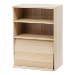 "IRIS 33""H Open Wood Shelf With Pocket Door, Light Brown"