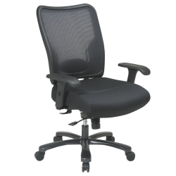 Office Star™ Big And Tall Fabric/Air Grid® Mesh Back High-Back Chair, Black