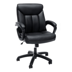 Essentials By OFM Bonded Leather Mid-Back Chair, Black