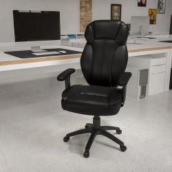 Flash Furniture Bonded LeatherSoft™ High-Back Swivel Chair, Black