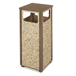 Rubbermaid® Commercial Aspen Series Square Metal Trash Receptacle, 12 Gallons, Brown