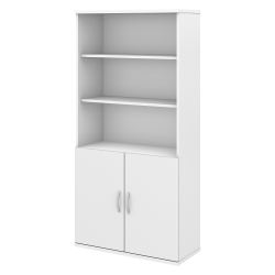 Bush Business Furniture Studio C 5 Shelf Bookcase with Doors, White, Standard Delivery